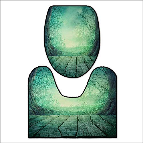 qianhehome Non-Slip Bath Toilet Mat Spooky Scary Dark Fog Forest with Dead Trees and Wooden Table Halloween Horror Print Blue. with High AbsorbencyL20 x W20-W15.75 x H17.72