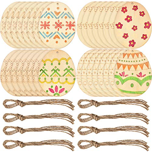 Boao Easter Egg Wood Slices Craft Hanging Egg Decorations for DIY Home Decor (32 Pieces) -