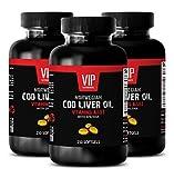 VIP VITAMINS NORWEGIAN COD LIVER OIL with Vitamins A & D3/EPA & DHA - Improve bone health - 3 Bottles 750 softgels