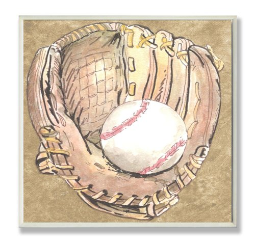 The Kids Room by Stupell Baseball Glove with Baseball on Brown Background Square Wall Plaque by The Kids Room by Stupell