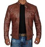 Decrum Brown Vintage Genuine Biker Distressed Leather Jackets for Men | [1100084] Diamond 1 Brown, L