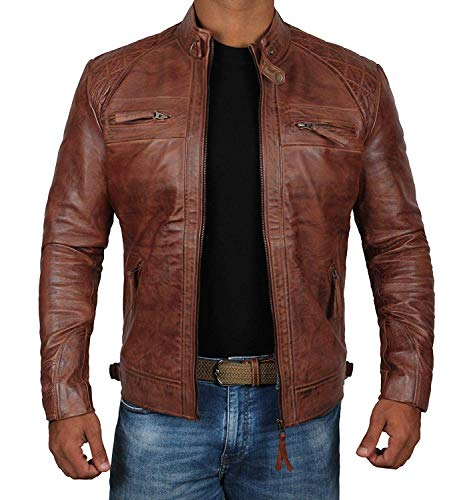 [1100081] Brown Mens Vintage Distressed Genuine Mens Leather Biker Jackets |Diamond Classic-1, - Brown Distressed Classic Leather
