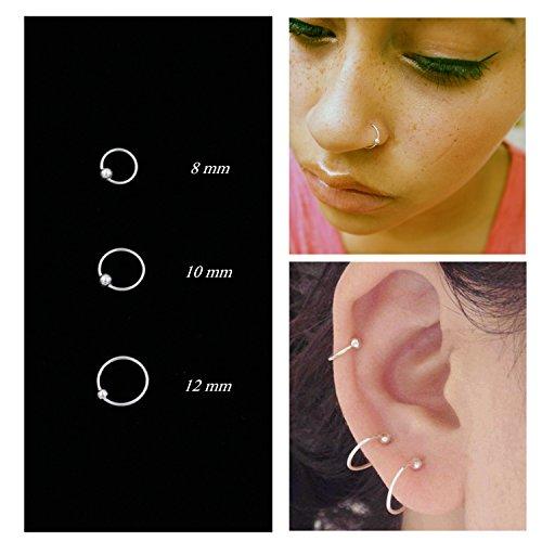Nose Rings Cartilage Hoop Earrings Body Piercing Adjustable Round Sterling Silver Jewelry for Women Men Girls - Druzy Hoop