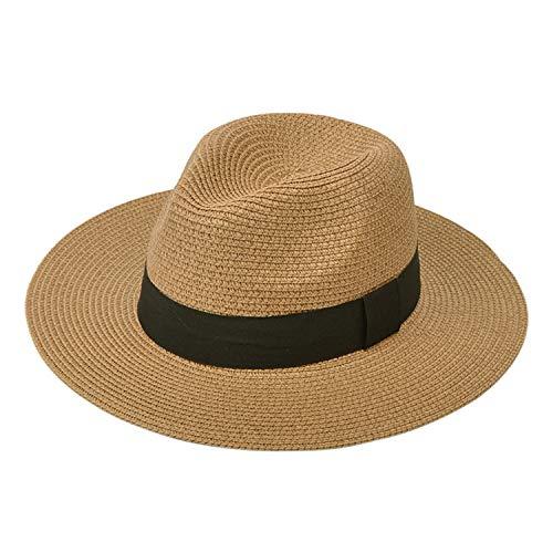 DRESHOW Women Straw Panama Hat Fedora Beach Sun Hat Wide Brim Straw Roll up Hat UPF 50+ (Fedora A Khaki)