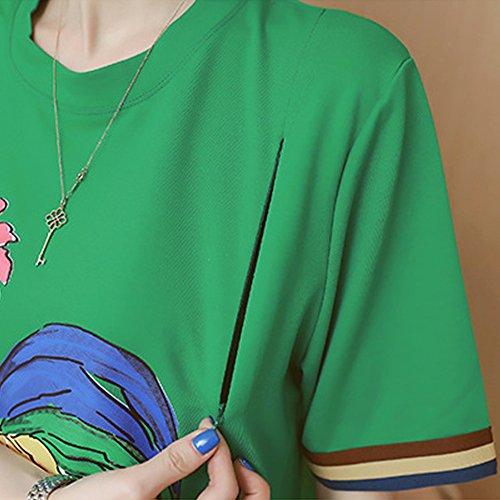 Moda al cazzo ricamo Donna Premaman estate Allattamento Vestito Cotone allentata ZEVONDA seno Verde 6BOwCppn