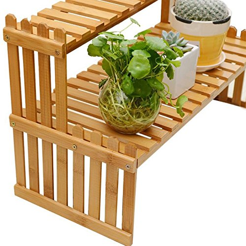 Tabletop Plant Stand Bamboo Pot Rack 2 Tier Desktop Planter Holder Shelf for Home Office Decorative (Gnome Sweet Gnome)