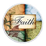 FDROL Faith Word Lattice Hand Painted Bird Thick Round Beach Towel Blanket - Microfiber Terry Beach Roundie Circle Mat Fringe High Color fastness Round 60 inches
