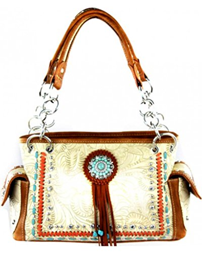 [Montana West Women's Concho Collection Satchel Bag Khaki One Size] (Concho Collection)