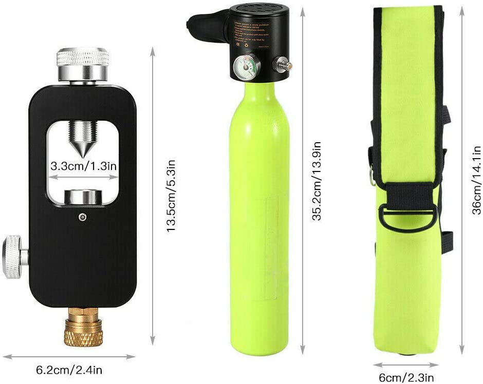 Gdrasuya10 Full Set of 0.5L Cylinder Scuba Diving Oxygen Tank for Underwater Submersible Diving Scuba Cylinder 4500psi Max High Pressure Pump with Adaper and Bag
