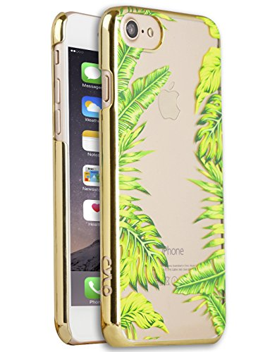 Haute Fashion (CYLO HAUTE Metallic Printed iPhone 7 Case, Lightweight with Vibrant colors and Trendy Fashion Prints (Minimal Plant/ Gold Tracer))