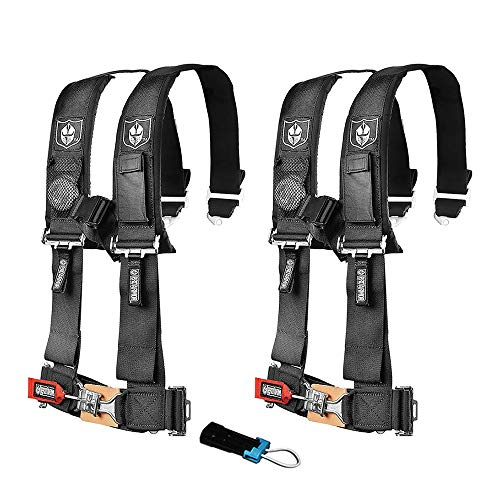 Pro Armor A114220 P151100 Black 4-Point Harness 2 Inch Straps RZR UTV Seat Lap Belt with Bypass Clip 2 Pack 4 Point Seat Belt Harness