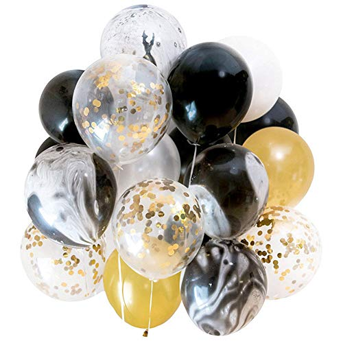 Modern Gold and Black Agate Mix Latex Party Decoration Marble Balloon 40pc Thick 12, Wedding, Birthday Party, Photobooth, Backdrop, Balloon Arch
