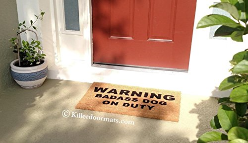 Warning Badass Dog On Duty Coir Funny Doormat, Size Large - Welcome -