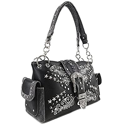 Justin West Buckle Western Floral Damask Embroidery Studs Stars Concealed Carry Handbag Purse