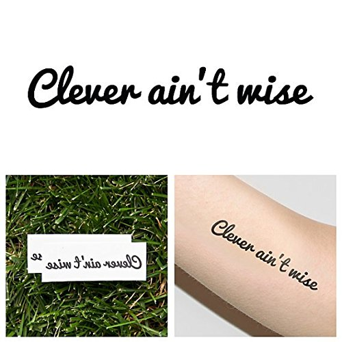 Clever Guys Costume Ideas (Tattify Clever Ain't Wise Temporary Tattoo - Sneak (Set of 2))