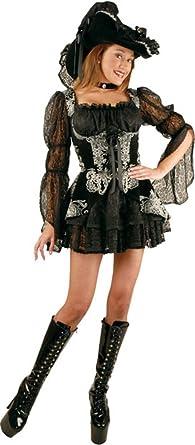 Amazon.com: Teen Color Negro y Plateado Lacey – Disfraz de ...