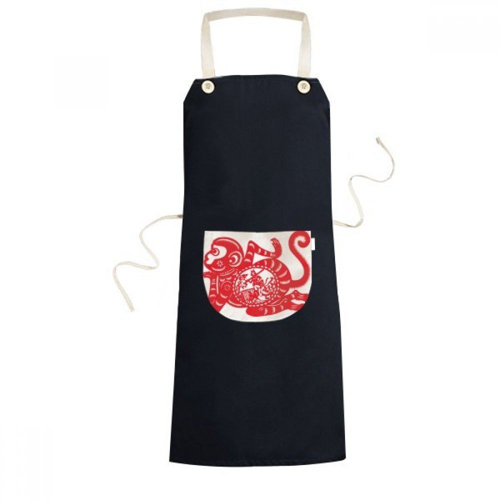 cold master DIY Papercut China Chinese Zodiac Monkey Traditional Culture Art Window Flowers Cooking Kitchen Black Bib Aprons With Pocket for Women Men Chef Gifts