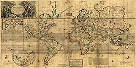 Amazoncom A New and Correct Map of the Whole World 1719 Poster