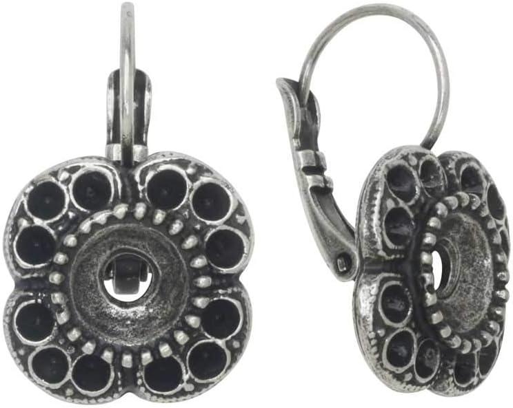 Gita Jewelry Montura de Piedra para Cristal de Swarovski, Pendientes Florales de Flores para PP14 y SS39 Chatons, 1 par, Plata Envejecida