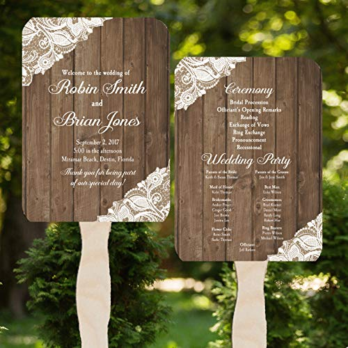 (Wedding Program Fans - Wood and Lace Collection - 100 Count Assembled)