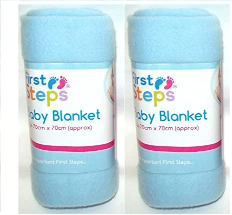 Moses Basket or Bed 70x70cm Crib First Steps Pack of 2 Fleece Baby Blankets for Pram