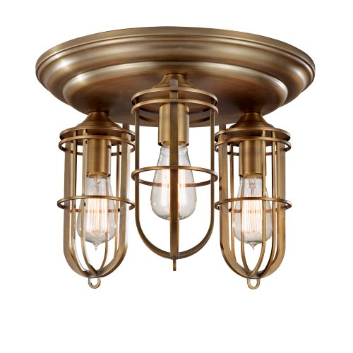 Feiss FM378DAB 3-Bulb Flush Mount, Dark Antique Brass Finish