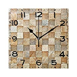 Naanle 3D Squares Wall Rock Print Square Wall Clock Decorative, 8 Inch Battery Operated Quartz Analog Quiet Desk Clock for Home,Office,School