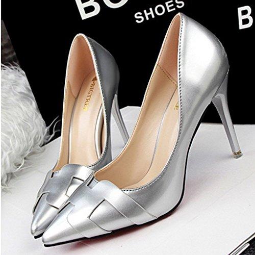 Minetom Mujer Primavera Atractivo Charol Pumps High Heel Shoes Stiletto Trabajo Zapatos de Tacón Moda Zapatos Morado EU 36 JEK7VLe