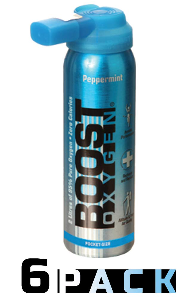 95% Pure Pocket Sized Oxygen Supplement, Portable Canister of Clean Oxygen, Increases Endurance, Recovery, Mental Acuity and Performance (2 Liter Canisters, 6 Pack, Peppermint) by Boost Oxygen