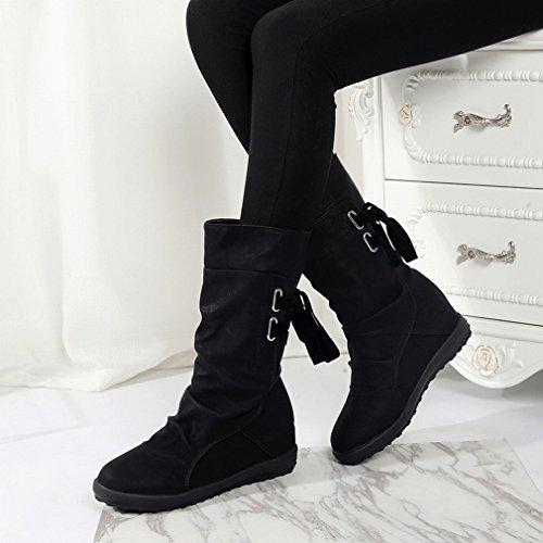 XAI Zapatos de Mujer de Gran Tamaño Occidentales en Otoño E Invierno Después de Las Botas con Botas Martin de Fondo Plano Hembra 41-43 Negro