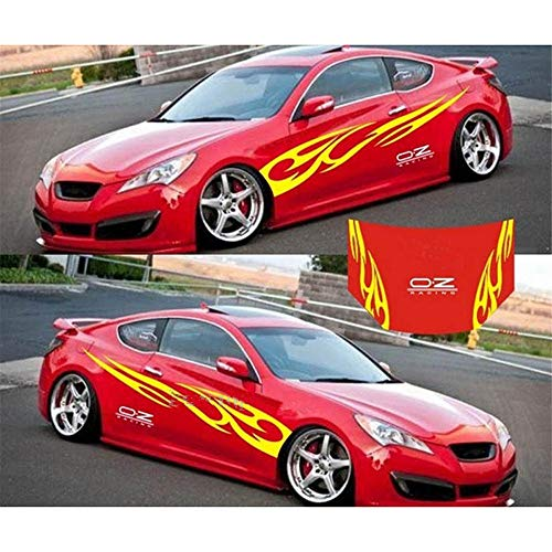 giftcity Car Decal,-1 Set Cool Flame Decal Stickers, Vinyl Car Body Decal Hood Sticker, Universal Car Stickers (Yellow)
