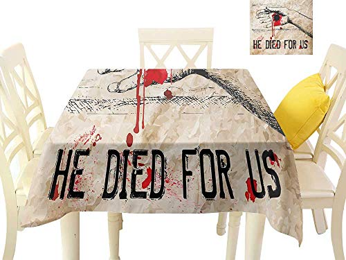 t-Proof Table Cover Bloody Hand Crucified in Drawing Style Calvary Death Cross Redemption Theme W60 x L60, Waterproof/Oil-Proof/Spill-Proof Tabletop Protector ()