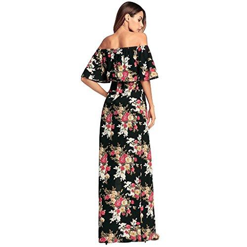 Sexy Dress Bare Las De Sin Beach Largo Slip Party Evening Imprimir De Sling Swing XXL Moda Mujeres Verano Mangas Bohemia Dress Hombro Floral Playa BxvYwxnF