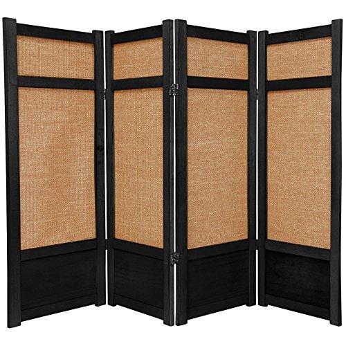 Oriental Furniture 4 ft. Tall Low Jute Shoji Screen - 4 Panel - Black ()