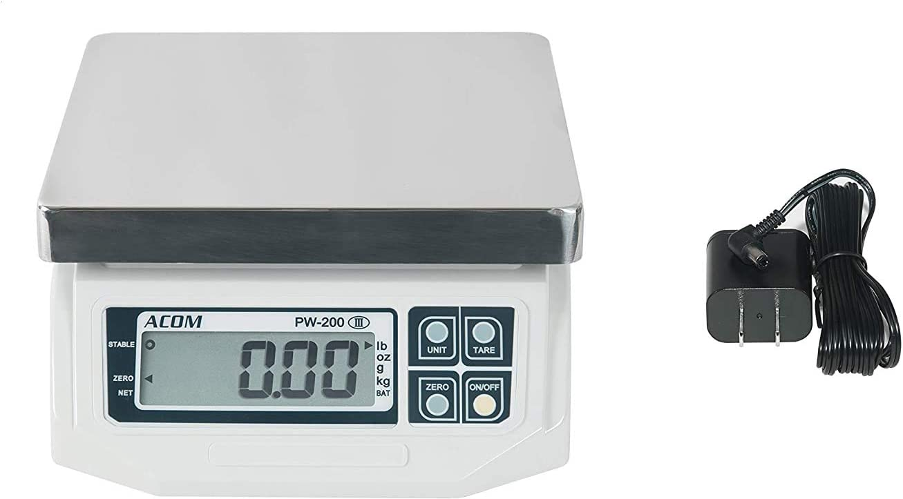 VisionTechShop ACOM APW-200 Digital Portion Control Scale, Lb/Oz/Kg/g Switchable, Low Profile Design, 60lb Capacity, 0.02lb Readability, Single Display, NTEP Legal for Trade