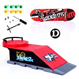 GreenSun TM Skate Park Ramp Track Fingerboard Toy Fun Finger Game Skate Board Ramp Parts for Desk Fingerboard Educational Finger Board D