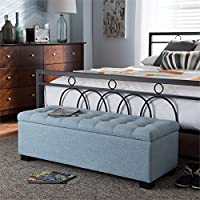 Baxton Studio Roanoke Storage Bench in Light Blue