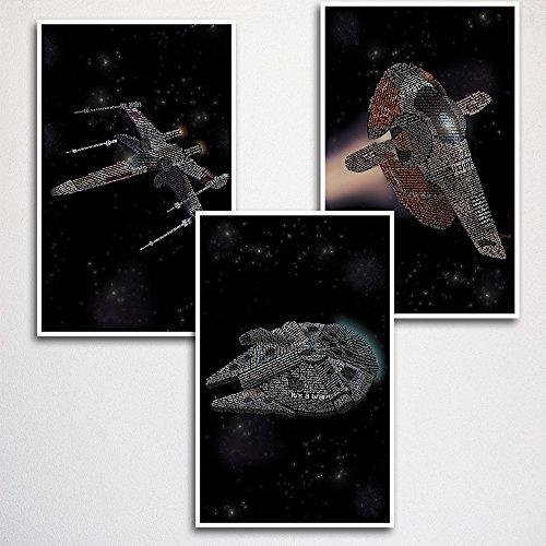 (Star Wars Ships Word Art Print Three Set 11x17
