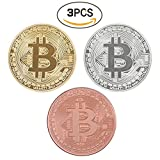 Bitcoin Coin Deluxe Collector's Set   Featuring the Limited Edition Original Commemorative Tokens by Zcccom   Each Coin Comes w/ a Plastic Round Display Case (Gold+Silver+Copper)