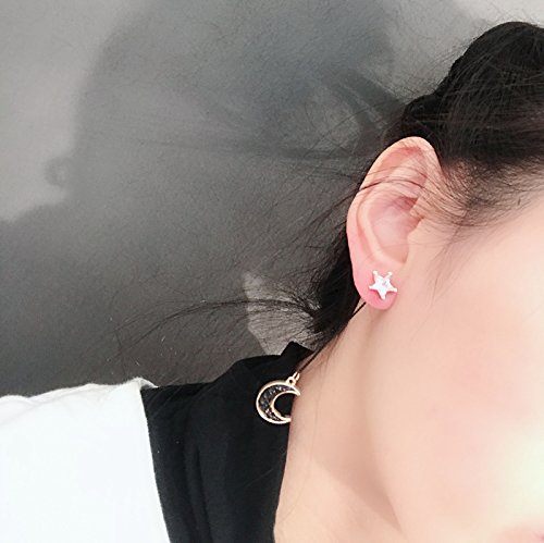 MUZHE Sapphire Blue Earth and Moon Planet Earring (asymmetrical earrings) by MUZHE (Image #1)