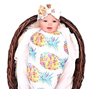 Newborn Baby Swaddle Floral Receiving Blankets with Hospital Headband Value Set