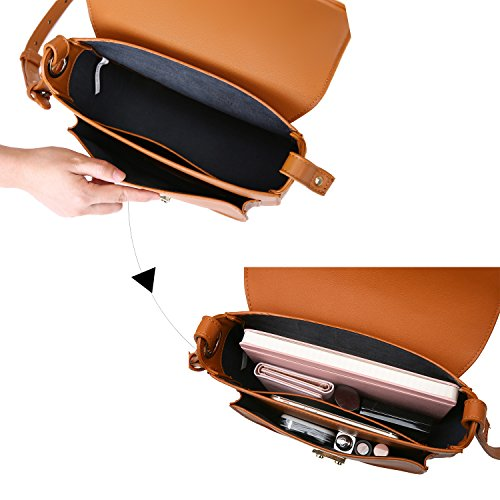 ECOSUSI Women Crossbody Saddle Bags Shoulder Purse with Flap Top & Phone Pocket, Brown by ECOSUSI (Image #4)