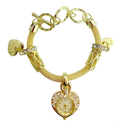 Mymate Ladies Bracelet Watch Gold and Silver Plated Chain Wristwatch Heart Pendant Link -
