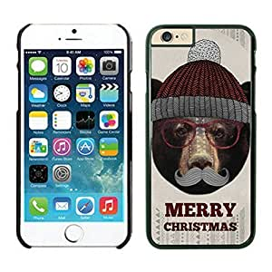 Iphone 6 Case, Fashionable Christmas Bear with glasses and hat Iphone 6 Case - White Frame Series 83812 the Best Durable Protective and Fashionable Perfect Fit Case for Iphone 6 (4.7-Inch)
