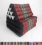 Leewadee Foldout Triangle Thai Cushion, 67x21x3 inches, Kapok Fabric, Black Red, Premium Double Stitched