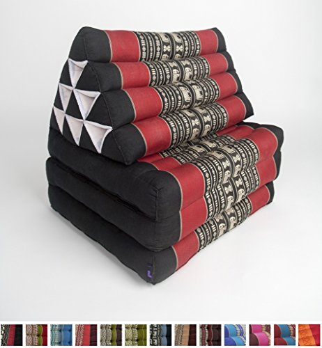 Leewadee Foldout Triangle Thai Cushion, 67x21x3 inches, Kapok Fabric, Black Red, Premium Double Stitched by Leewadee