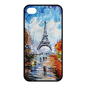 Eiffel Tower Pattern Design Solid Rubber Customized Cover Case for iPhone 4 4s 4s-linda268