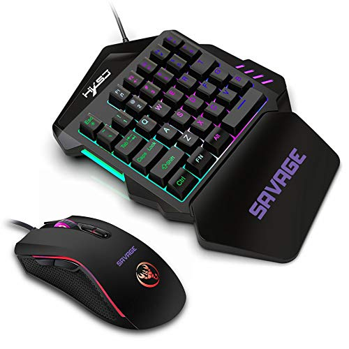 Mini GamingKeyboard + Wired Gaming Mouse, One Handed Small Gaming Keyboard Feel Wide Hand Rest with 35 LED Colorful Keys for PUBG Mobile Phone, Portable, light weight