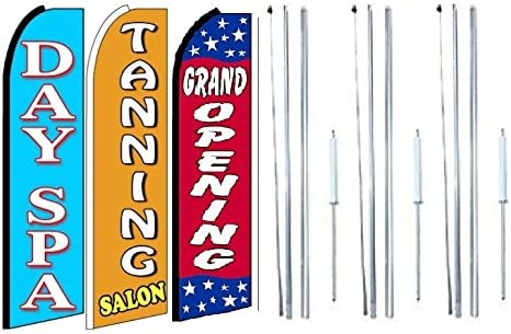 Tanning Pack of 3 Day spa Grand Opening King Swooper Feather Flag Sign Kit with Complete Hybrid Pole Set