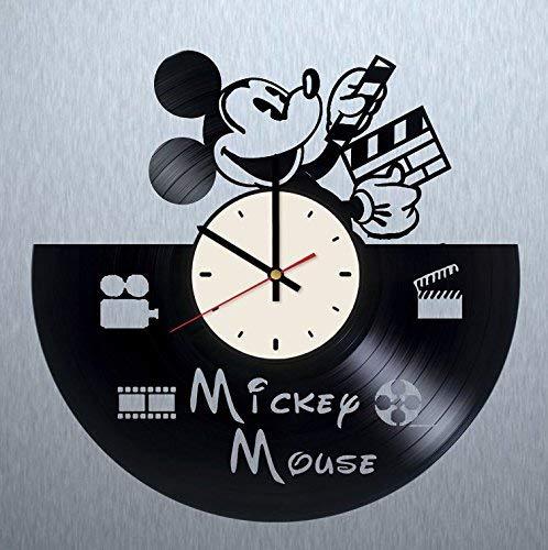 Mickey Mouse Vinyl Record Wall Clock Walt Disney Clock Gift idea for Birthday, Christmas, Women, Men, Friends, Girlfriend Boyfriend and Teens - Living Kids Room Nursery